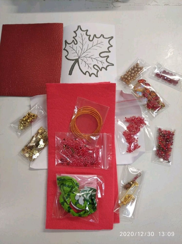 Photo №1 к отзыву покупателя Yana о товаре Набор для создания броши Кленовый лист красный с мастер-классом