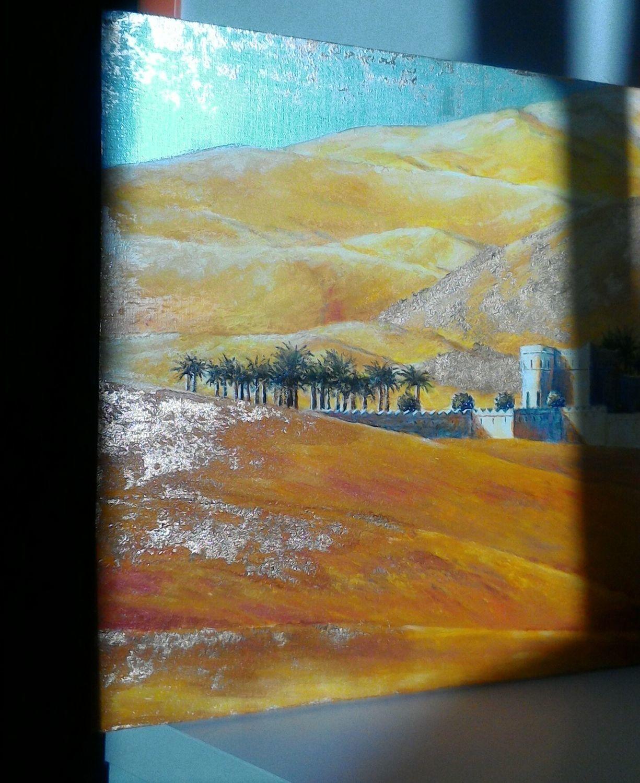 Фото №2 к отзыву покупателя TALIA о товаре Серия Пустыня. Оазис. Картина акрил, поталь