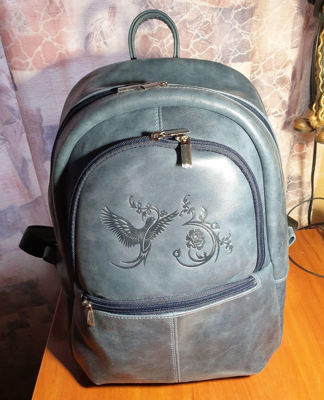 Photo №1 к отзыву покупателя Dulcet Stone о товаре Рюкзак кожаный женский синий Арабская ночь Мод Р43-661
