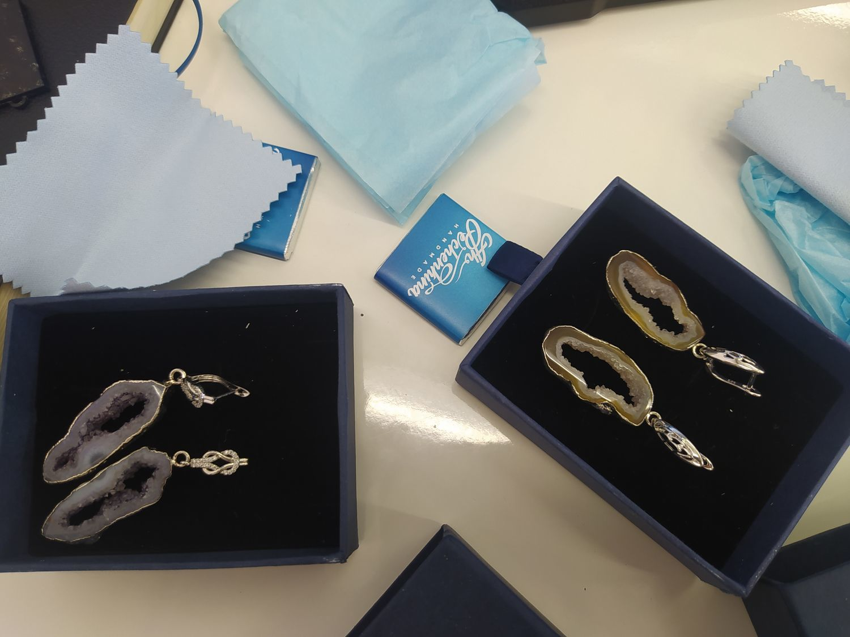 Фото №2 к отзыву покупателя Елена о товаре Серьги со срезами в серебре.