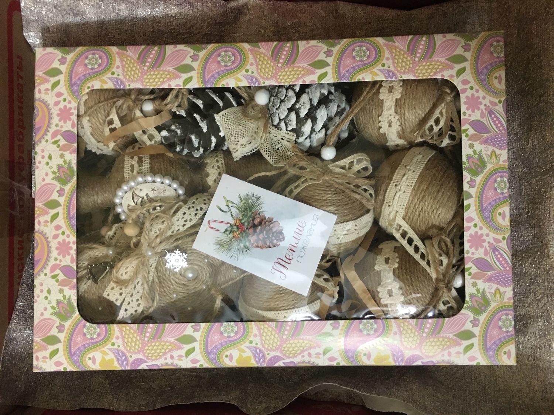 Photo №1 к отзыву покупателя Ekaterina о товаре Набор елочных игрушек в эко стиле