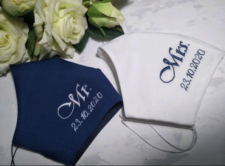 Photo №1 к отзыву покупателя Marina о товаре Свадебные маски для жениха и невесты с вышивкой