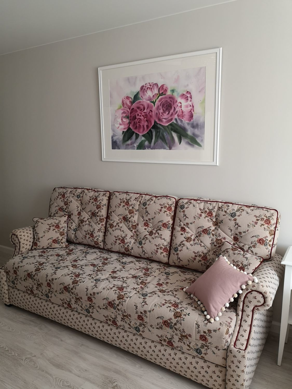Photo №3 к отзыву покупателя Irina Ilyasova о товаре Розовые пионы картина акварелью с цветами в интерьер в стиле прованс