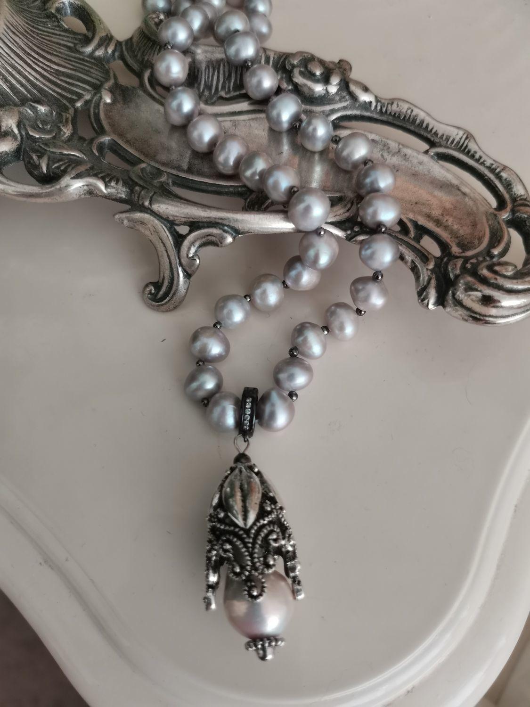 Фото №1 к отзыву покупателя Larisa о товаре Бусы из жемчуга Серебристый речной жемчуг Ожерелье с подвеской
