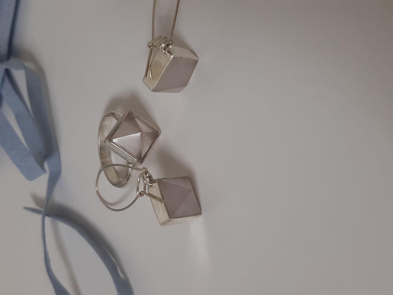 Photo №2 к отзыву покупателя Ellina о товаре Серьги с розовым кварцем пирамидками
