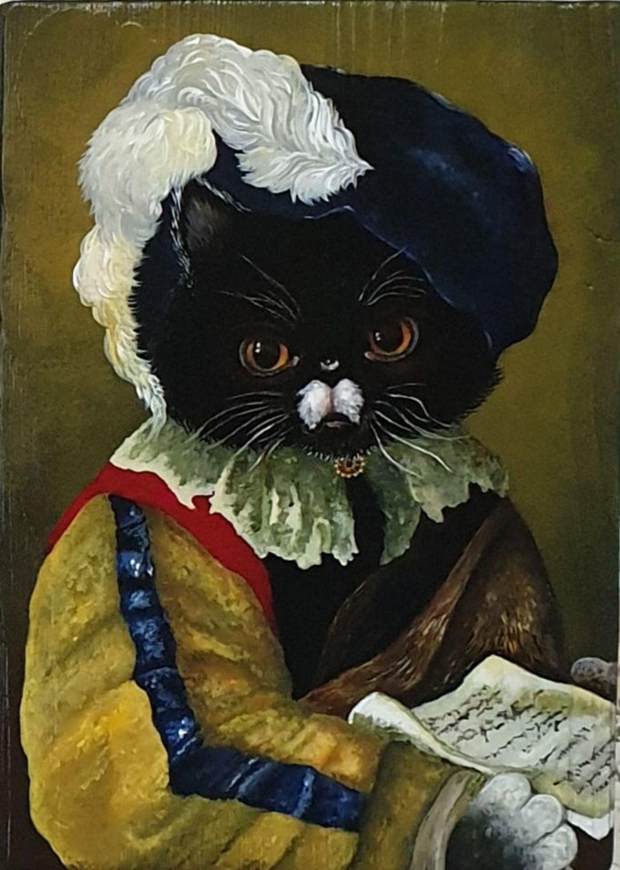 """Photo №1 к отзыву покупателя Tatjana о товаре """"Письмо любимой""""Картины и панно,дерево,кот,кошки"""