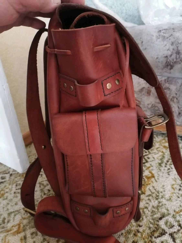 Photo №3 к отзыву покупателя Oleg Kireev о товаре Кожаный походный винтажный рюкзак, купить кожаный рюкзак