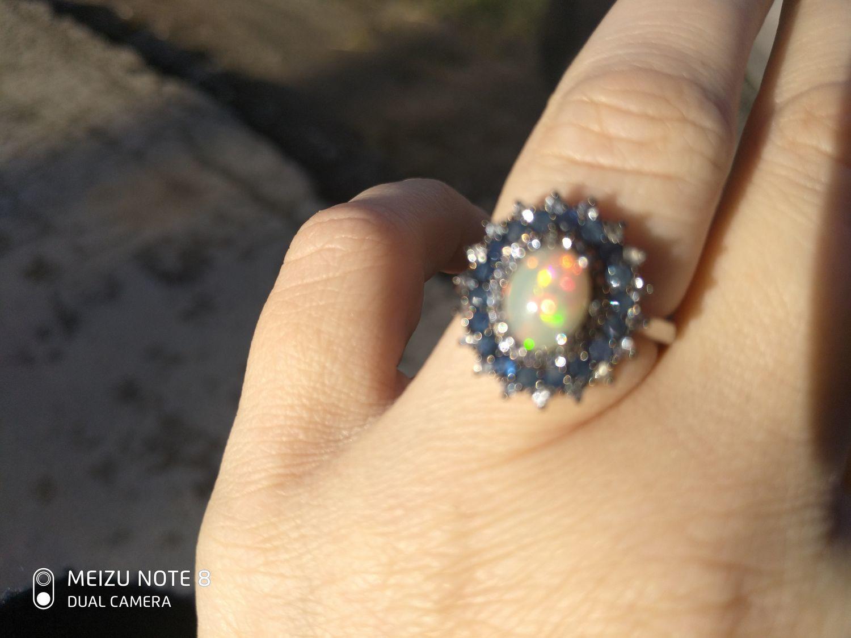 Photo №2 к отзыву покупателя zhanna о товаре Серебряное кольцо с опалом и сапфирами, р.16