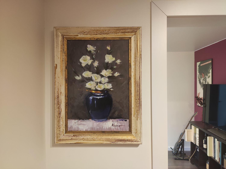 """Фото №1 к отзыву покупателя Кирилл Гуляев о товаре Картины: """"Белая магнолия"""".Картина маслом цветы в вазе."""