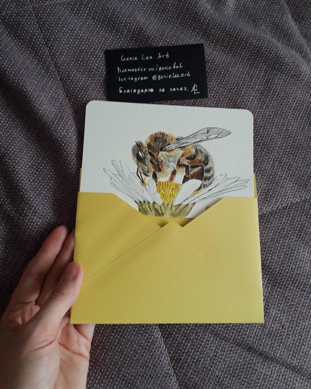 Фото №2 к отзыву покупателя Нежная Одежда (Lula May, Дарья) о товаре Открытка Пчёлка. Акварель. и еще 1 товар