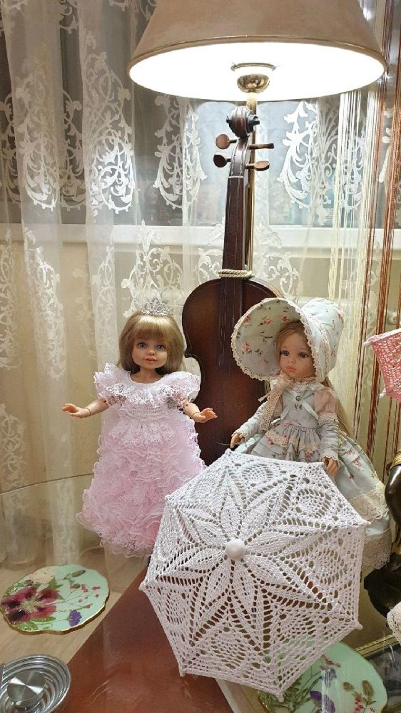 Фото №1 к отзыву покупателя Иванова Светлана о товаре Зонты вязаные ажурные для кукол размером 28-35см, разные цвета