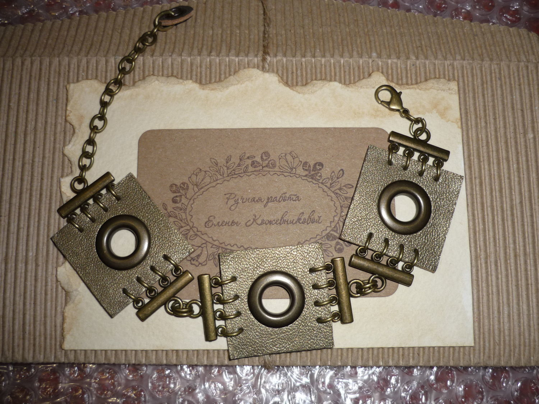Photo №1 к отзыву покупателя Olga о товаре Браслет-манжета: Кожаный браслет Оливково-бронзовый