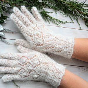 Ажурные пуховые перчатки