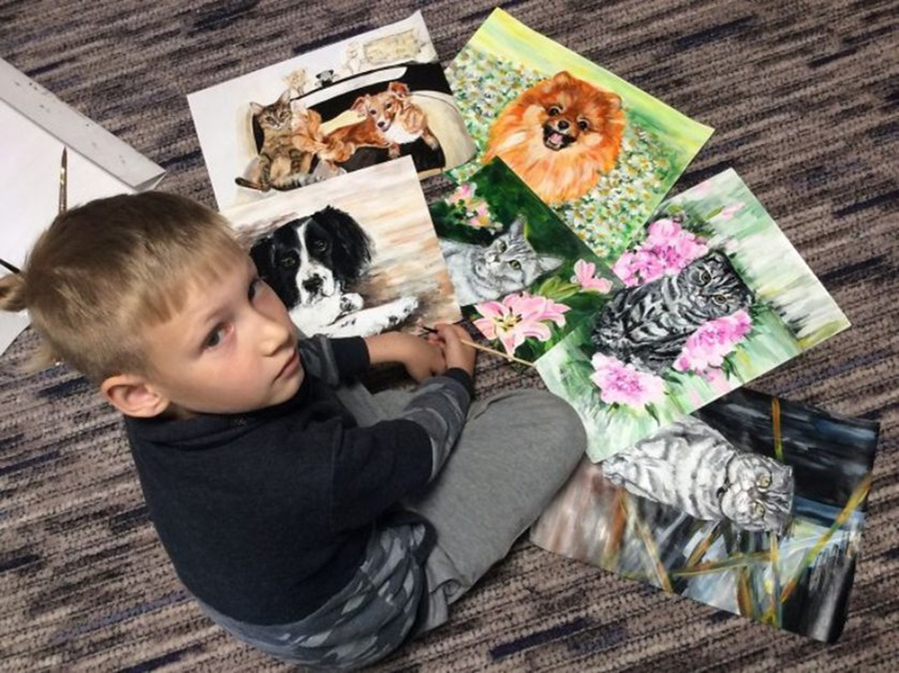 9-летний художник спасает животных из приюта: удивительный проект «Добрая кисть», фото № 1