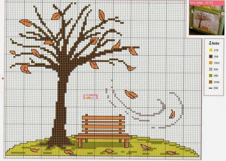 Влюбленные в осень: 50+ схем для вышивки крестиком, фото № 51