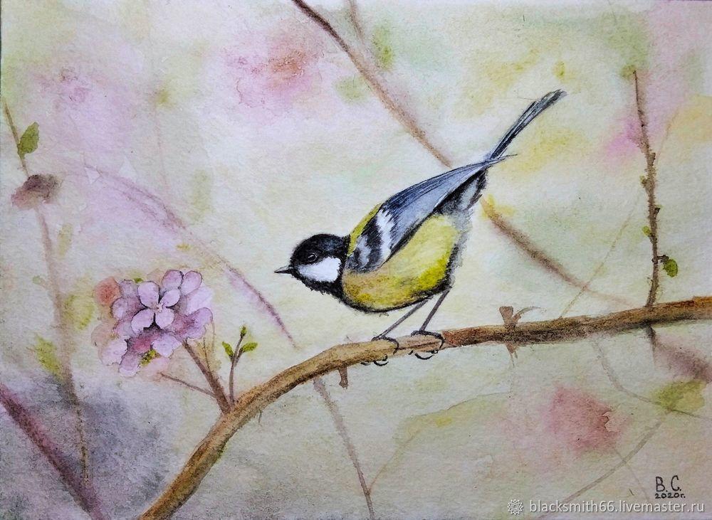 Рисуем синицу на цветущей ветке акварелью, фото № 13