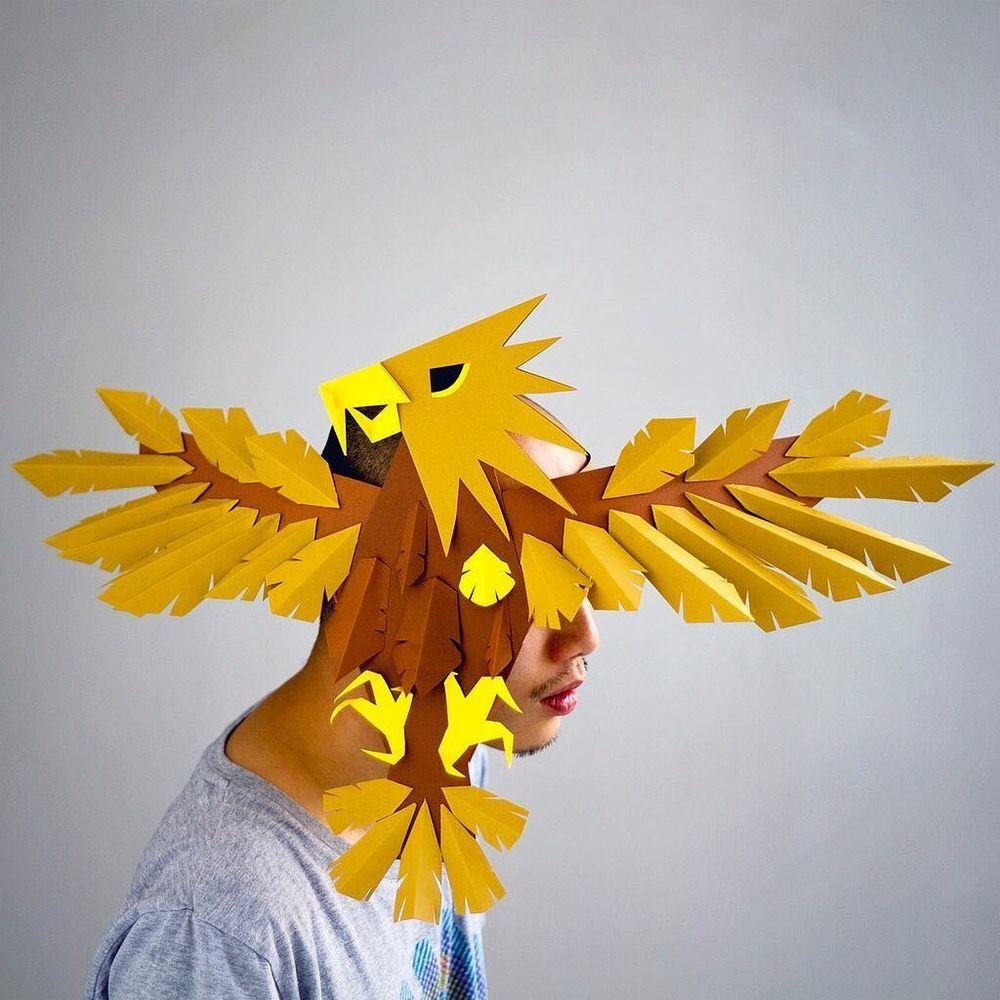 Повелитель бумаги inus ui создаёт маски и костюмы из цветного картона, фото № 24