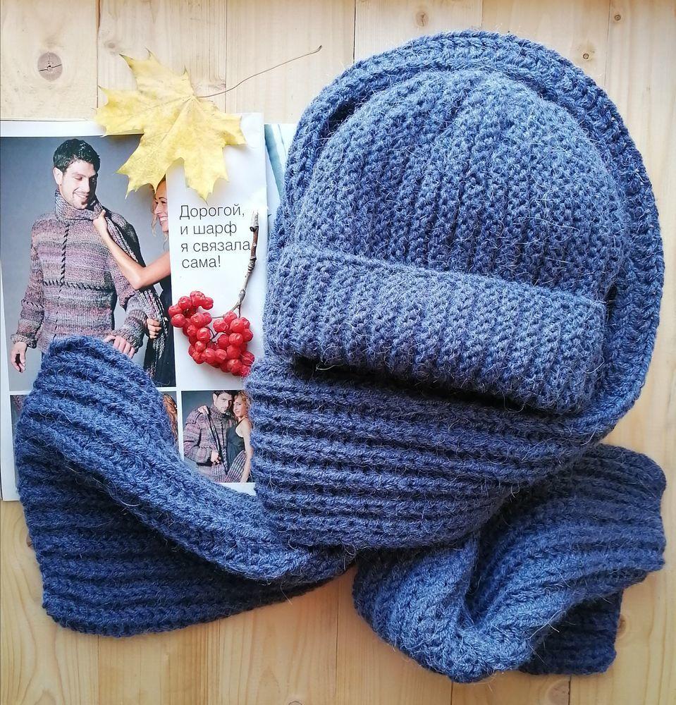 картинки шапка с шарфом вязание спицами мк трубы