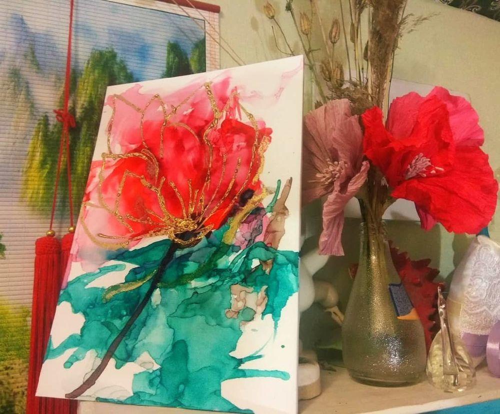 Создаем картину «Цветок» спиртовыми чернилами, фото № 1