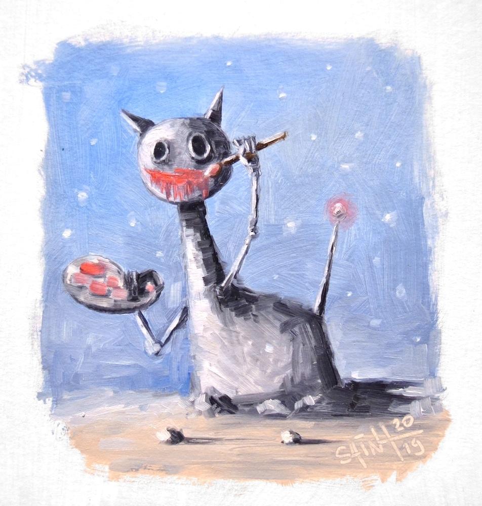 День 345. Миниатюра маслом  «Рисовый кот» . 46-я работа из серии 50 дней масла, фото № 1