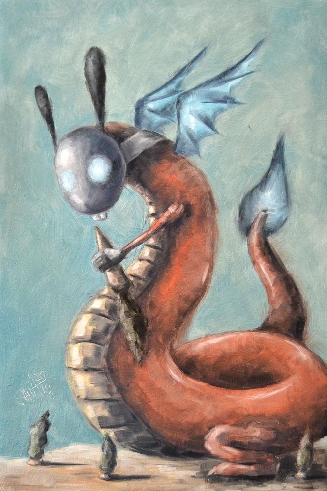 День 341. Картина маслом  «Зубастый дракон» . 42-я работа из серии 50 дней масла, фото № 1