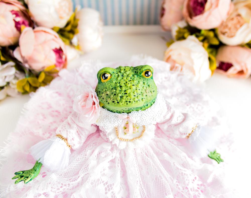 Принцесса Одри жаба, лягушка, авторская кукла, подарок любимой, фото № 11