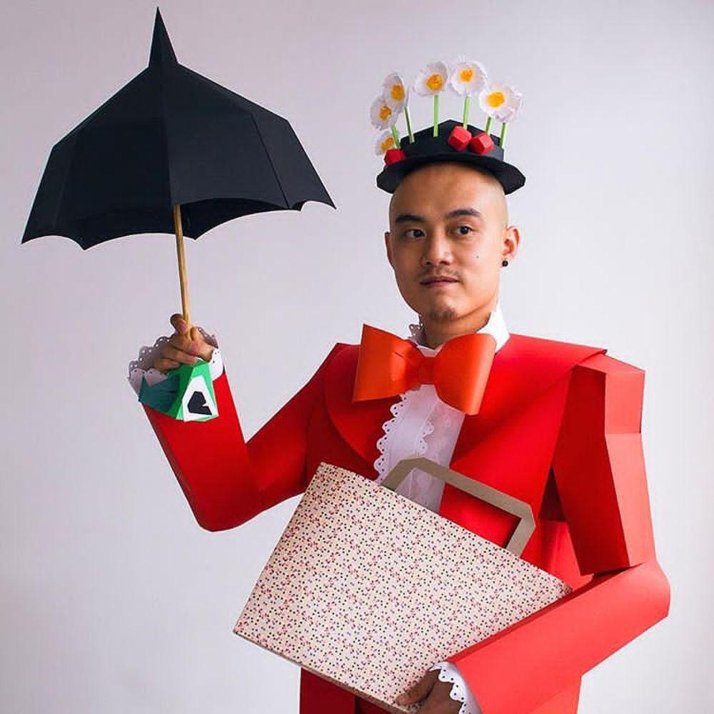 Повелитель бумаги inus ui создаёт маски и костюмы из цветного картона, фото № 6