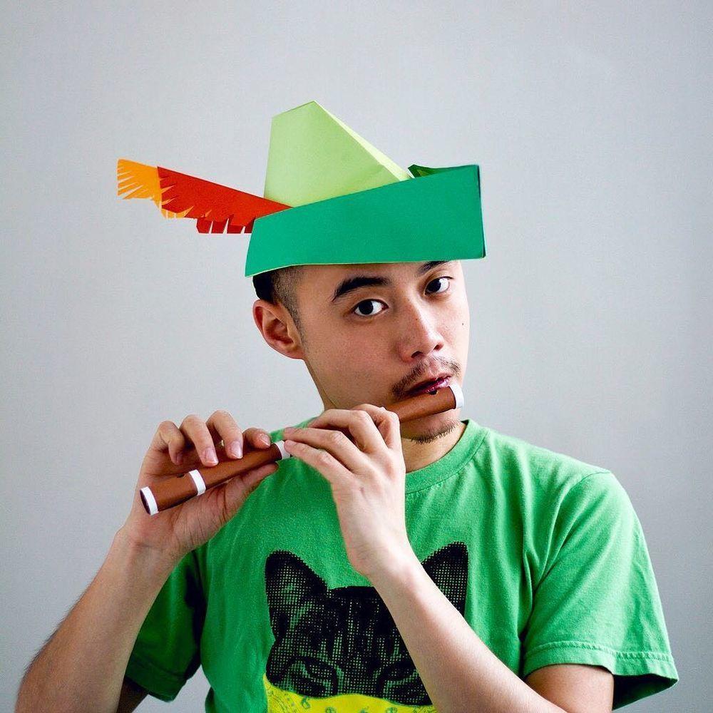 Повелитель бумаги inus ui создаёт маски и костюмы из цветного картона, фото № 36