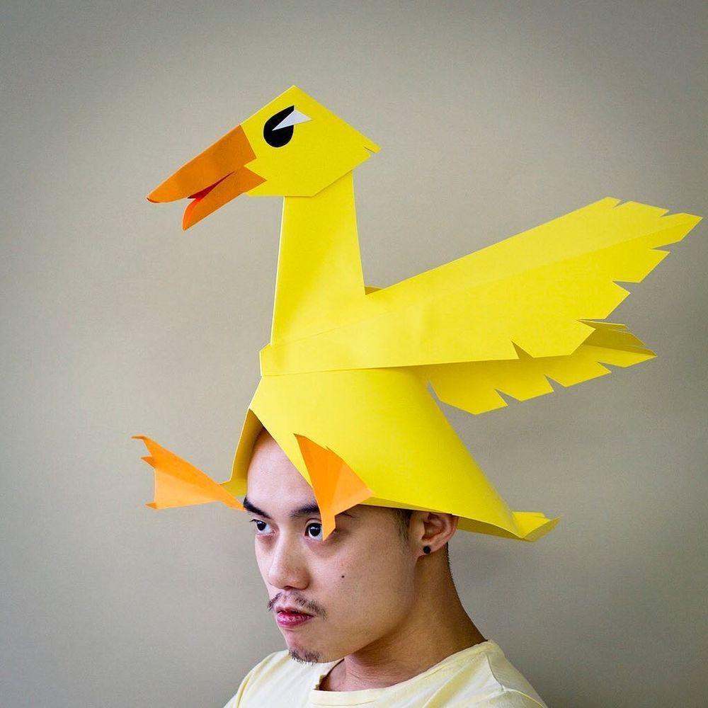 Повелитель бумаги inus ui создаёт маски и костюмы из цветного картона, фото № 12