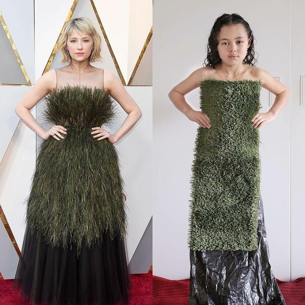 Эмма Стоун в платье из вафель и Рианна с кастрюлей на голове: 9-летняя звезда интернета удачно пародирует образы знаменитостей в домашних условиях, фото № 6