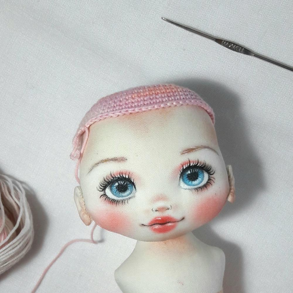 Делаем волосы из пряжи для куклы из ткани, фото № 5