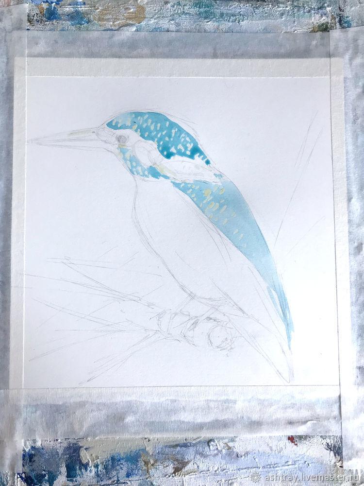 Как нарисовать зимородка акварелью, фото № 4