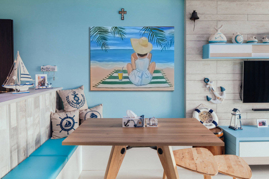 морской стиль, лето, пейзаж маслом, картина с девушкой, настроение, релакс, новая работа, картина в дом, картина в спальню, морская тема