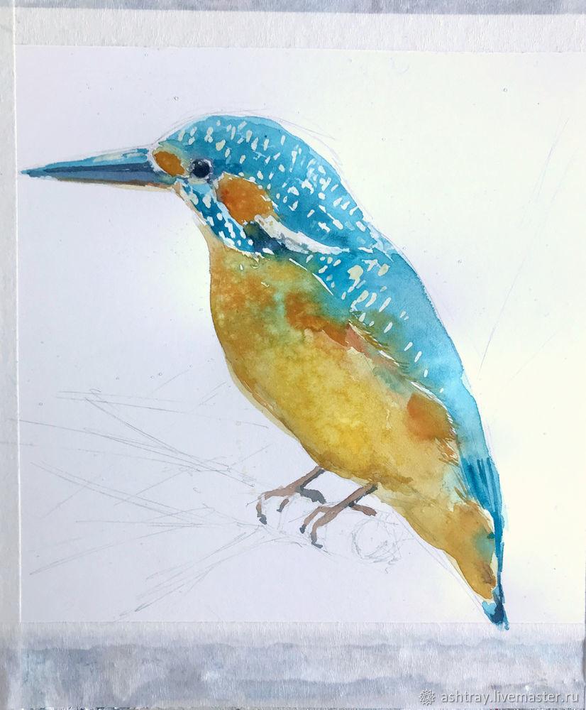 Как нарисовать зимородка акварелью, фото № 8
