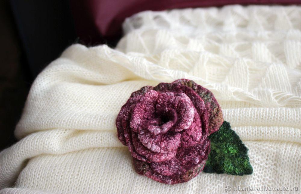 Мастерим брошь-розу из валяной шерсти, фото № 2