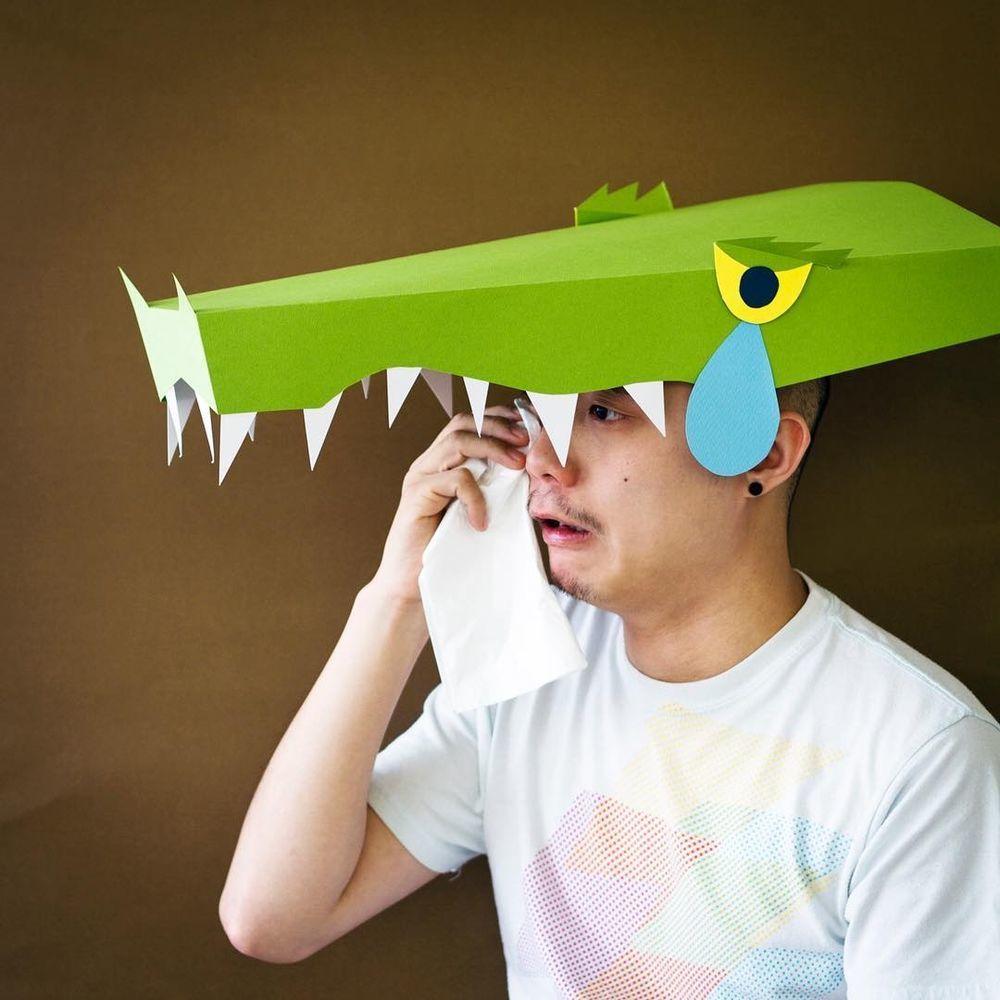 Повелитель бумаги inus ui создаёт маски и костюмы из цветного картона, фото № 30