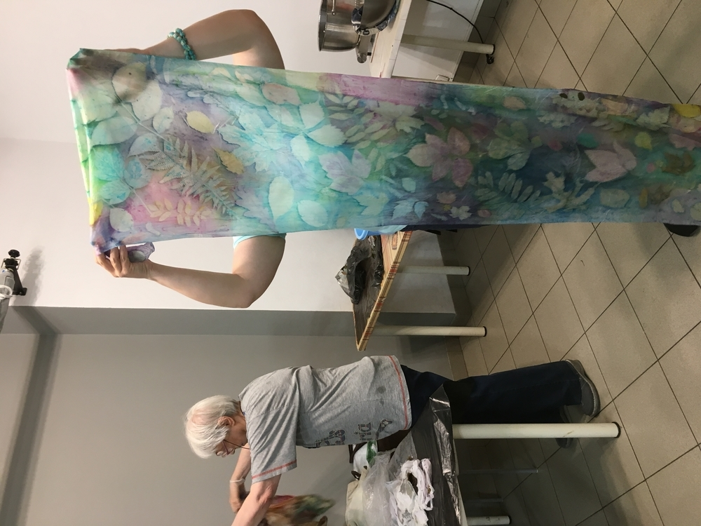 Палантин « Ботанический атлас. Крашение в технике «многоцветный ботанический принт», фото № 6