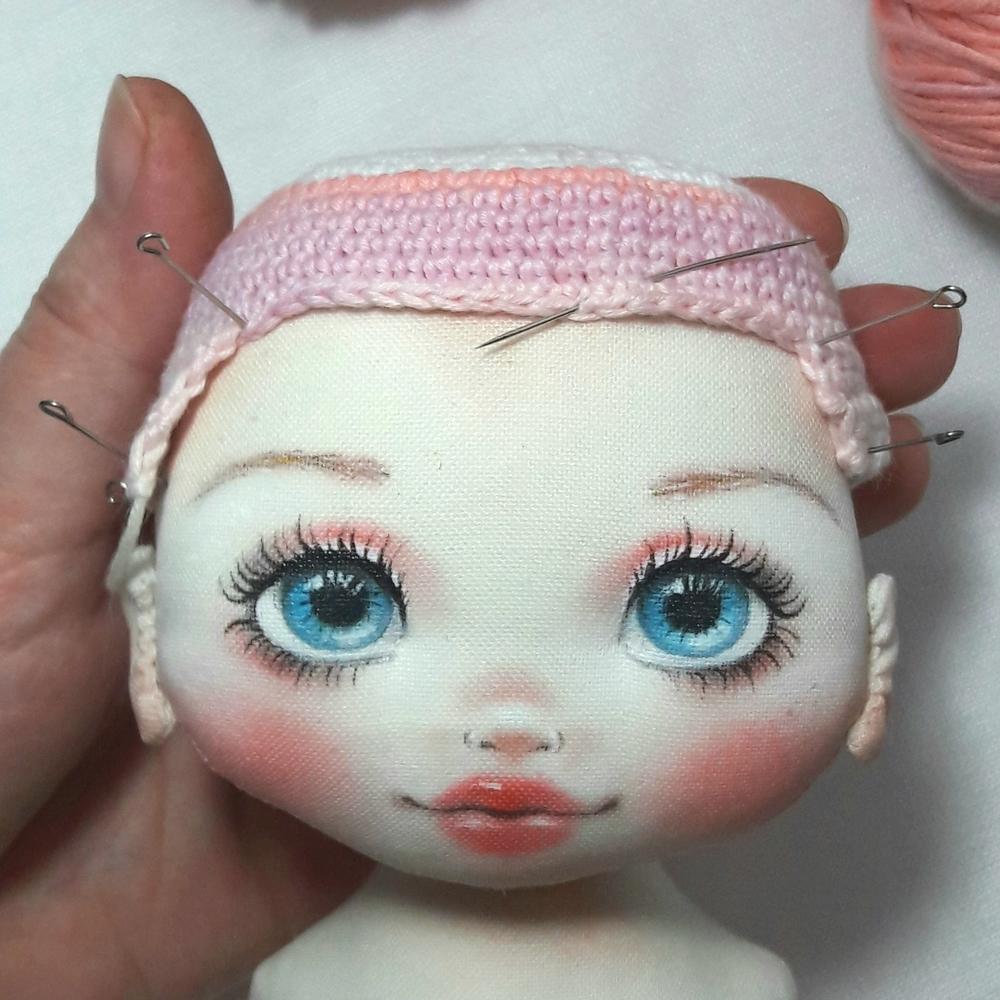 Делаем волосы из пряжи для куклы из ткани, фото № 7