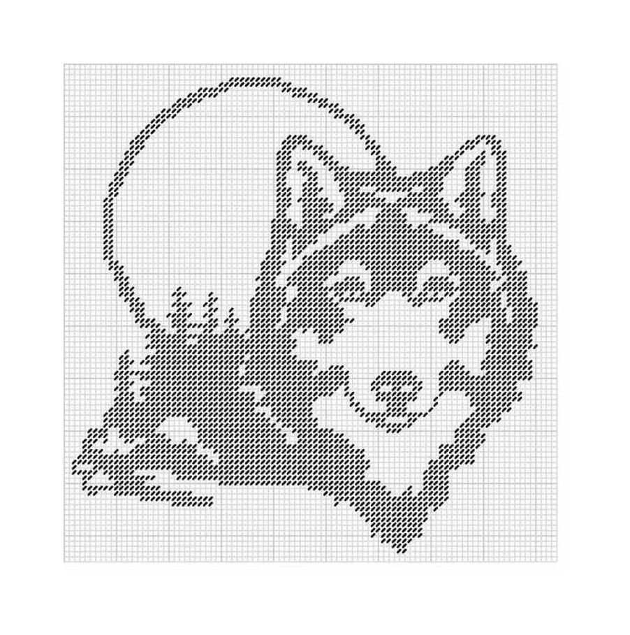 Картинка волка по клеточкам