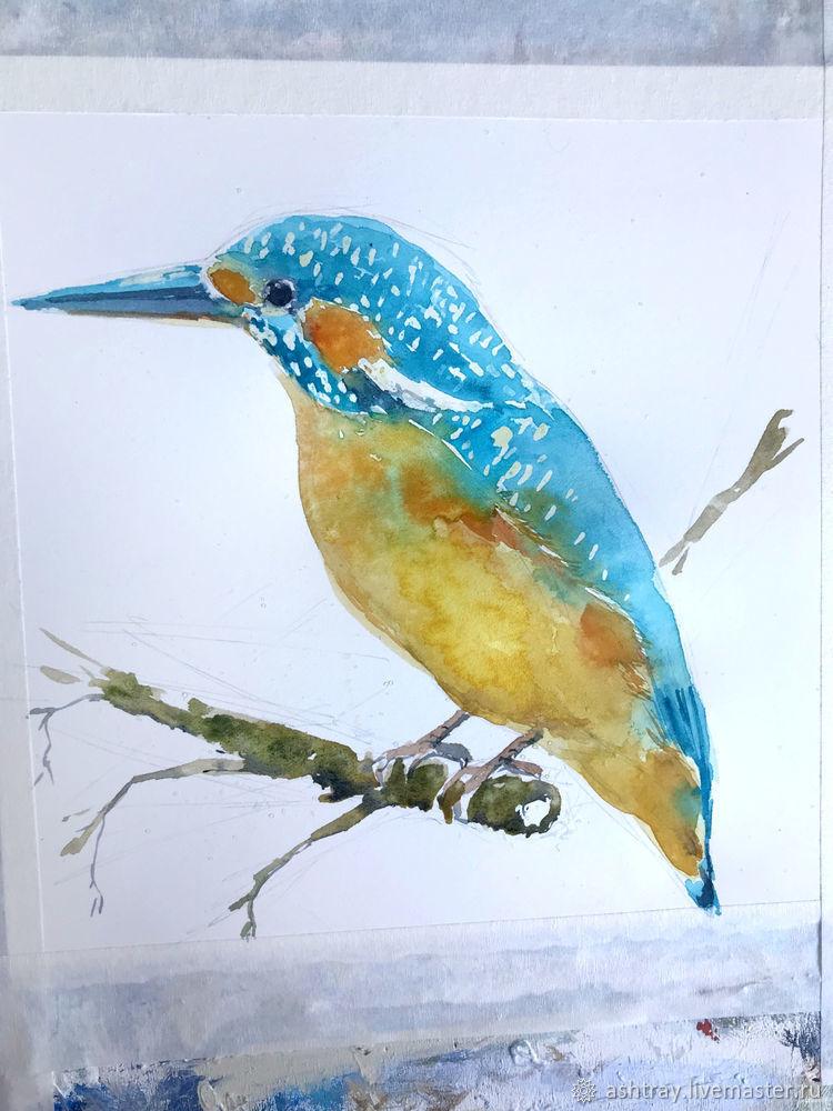 Как нарисовать зимородка акварелью, фото № 9