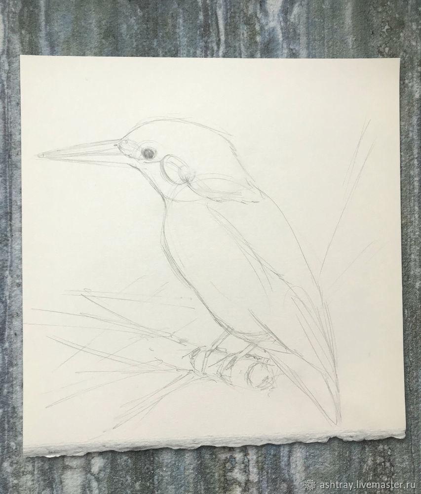 Как нарисовать зимородка акварелью, фото № 2
