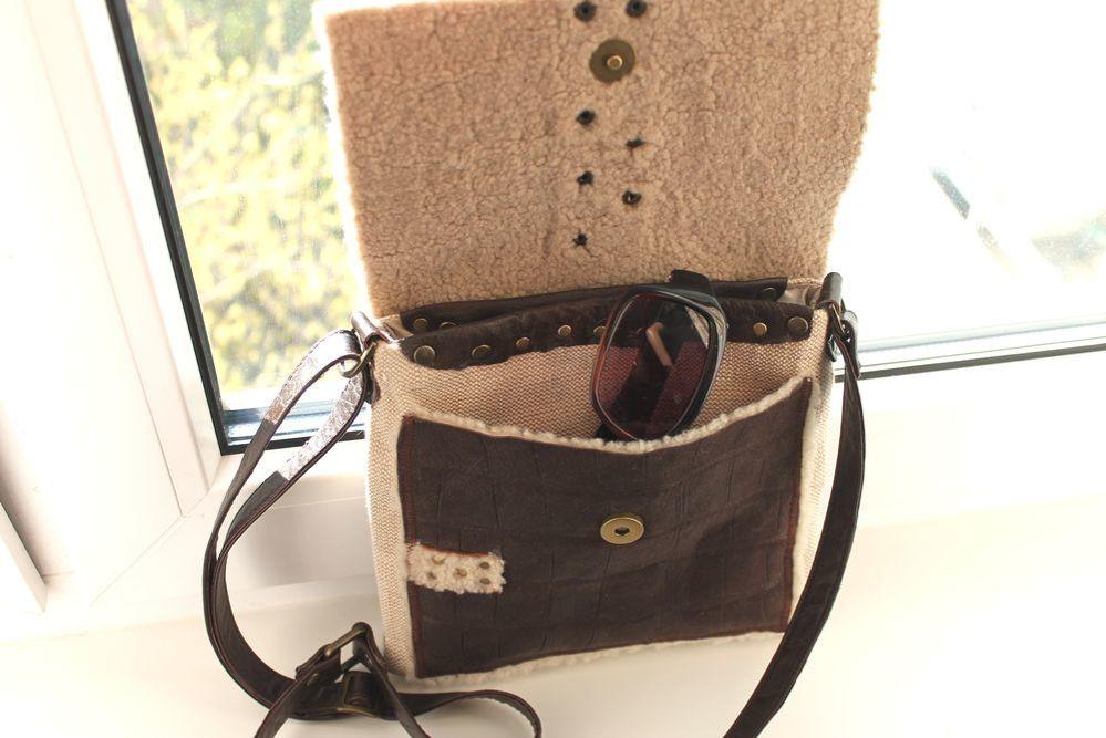 сумка из кожи, мех натуральный, сумка в стиле вестерн, сумка дикий запад