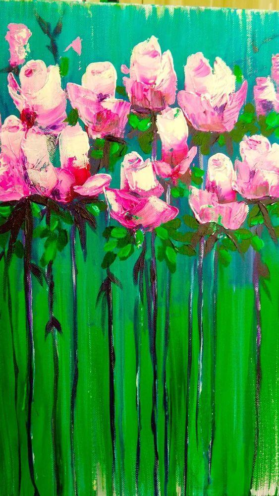картина цветы акрилом