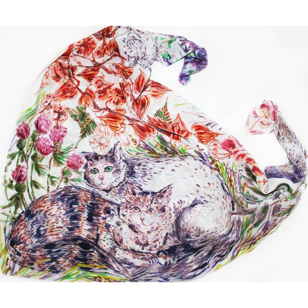 платок с росписью, кошки