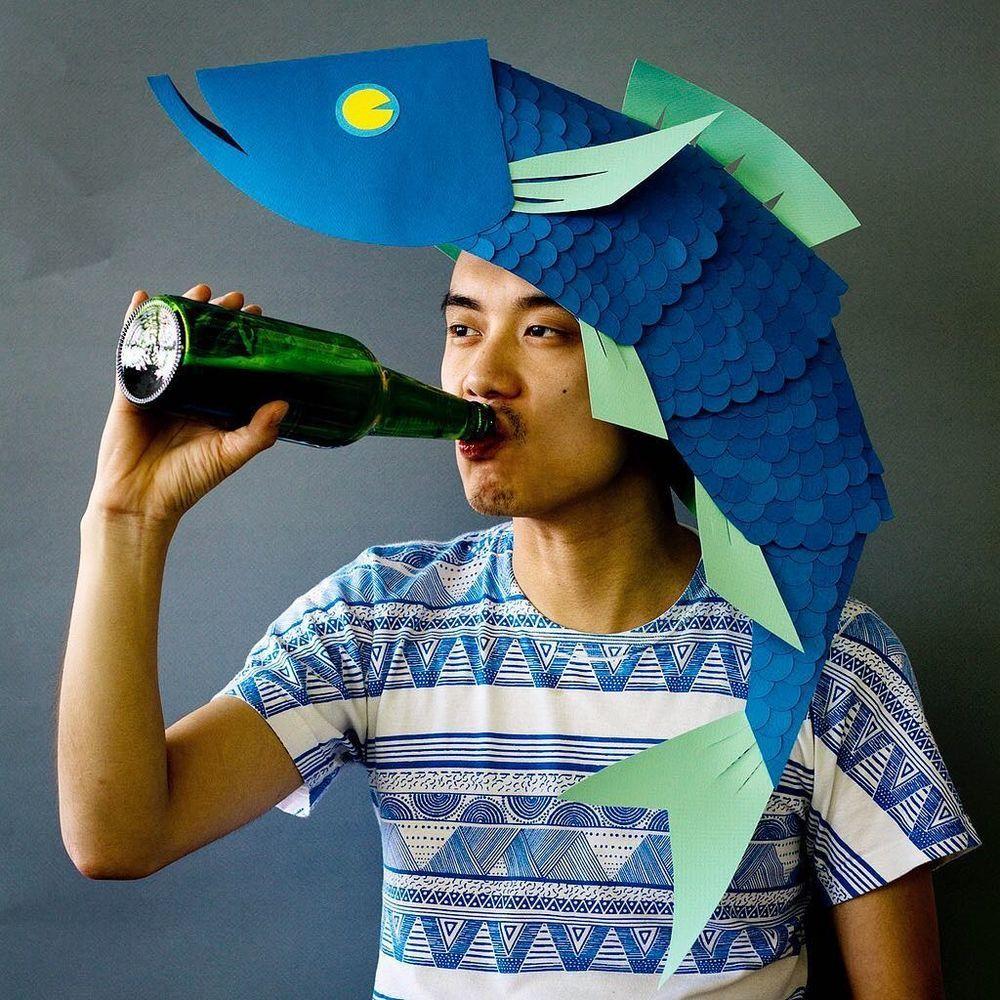 Повелитель бумаги inus ui создаёт маски и костюмы из цветного картона, фото № 7