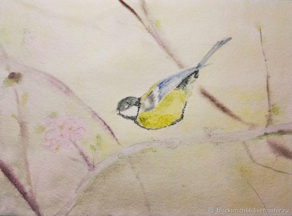Рисуем синицу на цветущей ветке акварелью, фото № 7