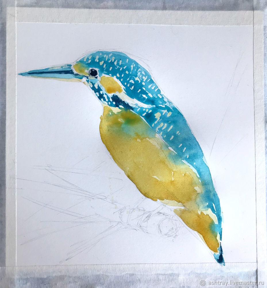 Как нарисовать зимородка акварелью, фото № 7