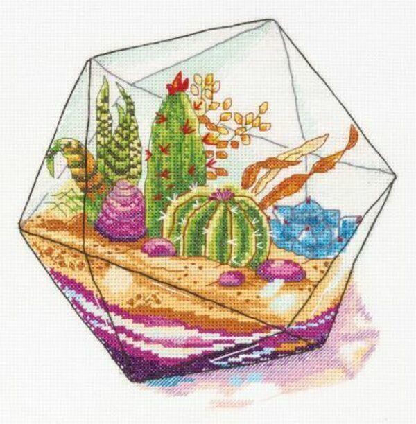 Колючие кактусы в вышивке