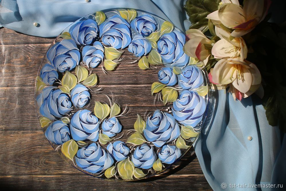 decorative painting, painting, plate painting, draw roses, video tutorial, tutorial for beginners, handmade painting, easy to do