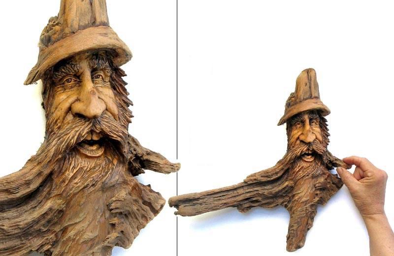 Нэнси Татл превращает коряги и обломки деревьев в сказочные деревянные скульптуры, фото № 34